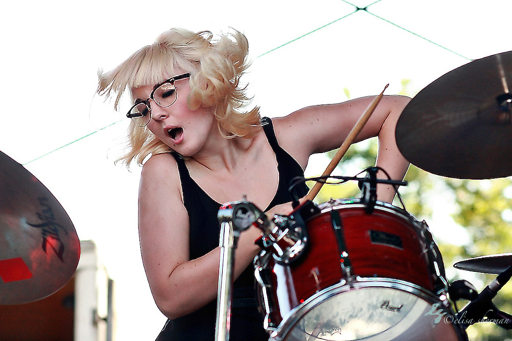 Anne Lillis playing drums for Jessica Lea Mayfield at the No Depression Festival at Marymoor Park Amphitheatre, July 11th, 2009,  in Redmond, Washington