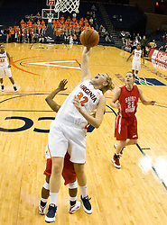 Virginia forward Jayna Hartig (32) grabs a rebound against St. Francis.  The #15 ranked Virginia Cavaliers defeated the St. Francis (Pa.) Red Flash 82-66 in NCAA Women's Basketball at the John Paul Jones Arena on the Grounds of the University of Virginia in Charlottesville, VA on January 5, 2009.