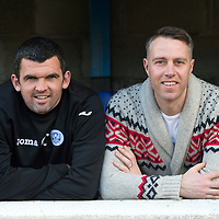 St Johnstone assistant manager Callum Davidson pictured with his old saints team mate Philip Scott who was up on a visit from his home in Sheffield...20.02.15<br /> Picture by Graeme Hart.<br /> Copyright Perthshire Picture Agency<br /> Tel: 01738 623350  Mobile: 07990 594431