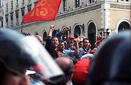 Roma 26 Novembre 2002.Manifestazione degli operai della Fiat di Termini Imerese per la difesa del posto di lavoro e contro i licenzimenti.Rome 26 Novembre 2002.Workers of Fiat rally against the hypothetical of closure of Termini Imerese's Fiat plant or reduction of personnel...