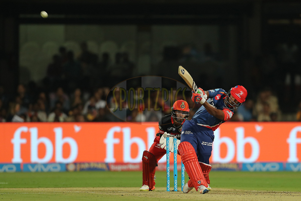 Rishabh Pant of the Delhi Daredevils hits over the top for six during match 5 of the Vivo 2017 Indian Premier League between the Royal Challengers Bangalore and the Delhi Daredevils held at the M.Chinnaswamy Stadium in Bangalore, India on the 8th April 2017<br /> <br /> Photo by Ron Gaunt - IPL - Sportzpics