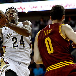 Jan 23, 2017; New Orleans, LA, USA; New Orleans Pelicans guard Buddy Hield (24) is defended by Cleveland Cavaliers forward Kevin Love (0) during the second half of a game at the Smoothie King Center. The Pelicans defeated the Cavaliers 124-122. Mandatory Credit: Derick E. Hingle-USA TODAY Sports