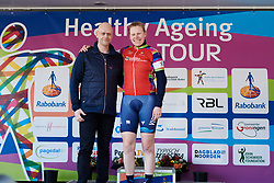 Mieke Kröger (GER) awarded the red jersey at Healthy Ageing Tour 2018 - Stage 3b, a 16 km team time trial starting and finishing in Stadskanaal on April 6, 2018. Photo by Sean Robinson/Velofocus.com