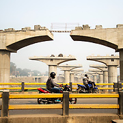 India. Bihar. Flyover construction.