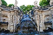 Zwinger, Nymphenbad, Wasserspiel, Dresden, Sachsen, Deutschland.|.Zwinger, nymph bath, Dresden, Germany