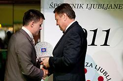 Janez Sodrznik and Zoran Jankovic, mayor of Ljubljana during Sportman of City Ljubljana 2011 gala event, on December 14, 2011 in Festivalna Hall, Ljubljana, Slovenia. (Photo By Vid Ponikvar / Sportida.com)