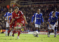 Photo: Rich Eaton.<br /> <br /> Birmingham City v Liverpool. Carling Cup. 08/11/2006. Craig Bellamy takes a penalty for Liverpool which the City goalkeeper Maik Taylor saves