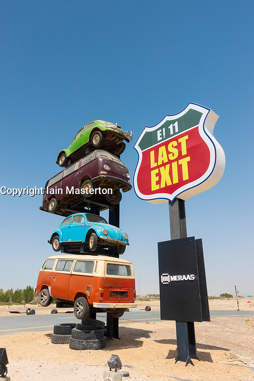 View of Last Exit an American themed drive-thru fast food highway service stop on E11 expressway between Abu Dhabi and Dubai, UAE, United Arab Emirates.