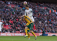 Football - 2016 / 2017 World Cup Qualifier - UEFA Group F: England vs. Lithuania<br /> <br /> Dele Alli of England rises highest to reach the ball above Egidijus Vaitkunas of Lithuania at Wembley.<br /> <br /> COLORSPORT/DANIEL BEARHAM