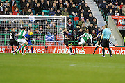 Andrew Shinnie fires header towards goal during the Ladbrokes Scottish Championship match between Hibernian and Dunfermline Athletic at Easter Road, Edinburgh, Scotland on 25 February 2017. Photo by Kevin Murray.