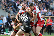 Hull FC utility player Connor Wynne (36) is held up by the Hull Kingston Rovers defence  during the Betfred Super League match between Hull FC and Hull Kingston Rovers at Kingston Communications Stadium, Hull, United Kingdom on 19 April 2019.