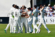 Wicket - Lewis Gregory of Somerset celebrates taking the wicket of Brett D'Oliveira of Worcestershire during the Specsavers County Champ Div 1 match between Somerset County Cricket Club and Worcestershire County Cricket Club at the Cooper Associates County Ground, Taunton, United Kingdom on 20 April 2018. Picture by Graham Hunt.