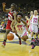 February 16 2011: Wisconsin Badgers forward Anya Covington (40) and Iowa Hawkeyes guard Kachine Alexander (21) battle for a lose ball during the second half of an NCAA women's college basketball game at Carver-Hawkeye Arena in Iowa City, Iowa on February 16, 2011. Iowa defeated Wisconsin 59-44.