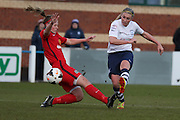 Preston Striker Jasmine Swarbrick strikes during the FA Women's Lancashire Cup Final match between Preston North End Ladies and Blackburn Rovers Women at the County Ground, Leyland, United Kingdom on 28 April 2016. Photo by Pete Burns.