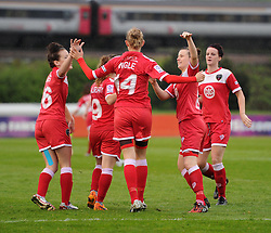 Bristol Academy players congratulate Sophie Ingle for her second-half goal against Notts County Ladies FC - Photo mandatory by-line: Paul Knight/JMP - Mobile: 07966 386802 - 25/04/2015 - SPORT - Football - Bristol - Stoke Gifford Stadium - Bristol Academy Women v Notts County Ladies FC - FA Women's Super League