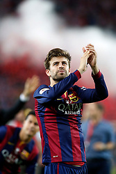 30.05.2015, Camp Nou, Barcelona, ESP, Copa del Rey, Athletic Club Bilbao vs FC Barcelona, Finale, im Bild FC Barcelona's Gerard Pique celebrates the victory // during the final match of spanish king's cup between Athletic Club Bilbao and Barcelona FC at Camp Nou in Barcelona, Spain on 2015/05/30. EXPA Pictures &copy; 2015, PhotoCredit: EXPA/ Alterphotos/ Acero<br /> <br /> *****ATTENTION - OUT of ESP, SUI*****