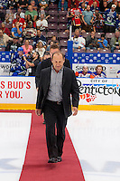 PENTICTON, CANADA - SEPTEMBER 16: Former Vancouver Canucks' player, Stan Smyl walks onto the ice for the ceremonial puck drop against the Edmonton Oilers on September 16, 2016 at the South Okanagan Event Centre in Penticton, British Columbia, Canada.  (Photo by Marissa Baecker/Shoot the Breeze)  *** Local Caption *** Stan Smyl;
