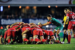 Ben Youngs of Leicester Tigers puts the ball into a scrum - Photo mandatory by-line: Patrick Khachfe/JMP - Mobile: 07966 386802 07/12/2014 - SPORT - RUGBY UNION - Leicester - Welford Road - Leicester Tigers v Toulon - European Rugby Champions Cup