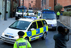 © Licensed to London News Pictures. 02/01/2012. Manchester, UK. A police van believed to be transporting Mark Stapleton leaving City of Manchester Magistrates' Court on January 2nd, 2012. Stapleton is charged with the murder of Indian student, Anuj Bidve. credit : Joel Goodman/LNP