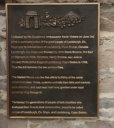 The twinning plaque that was unveiled at the Market House Louisburgh.<br />
