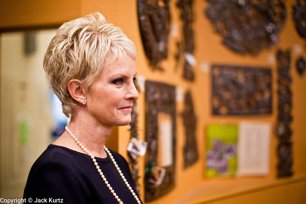 "Sept. 16 - TEMPE, AZ: CINDY MCCAIN, mother of Meghan McCain and wife of US Sen. John McCain (R-AZ) listens to Meghan discuss her book, ""Dirty Sexy Politics"" during a book signing at Changing Hands Bookstore in Tempe, AZ, Thursday, Sept. 16. McCain's book is a recounting of her life on the campaign trail during the 2008 election, when her father, John McCain, was the Republican candidate for President of the United States.  Photo by Jack Kurtz"