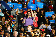 LAURA FONG |  A crowd of 2,000 Democratic supporters waited in line in the rain to see First Lady Michelle Obama at Cuyahoga Community College in Cleveland Monday.