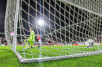 ALKMAAR - 02-02-2016, AZ - HHC, AFAS Stadion, AZ speler Vincent Janssen scoort hier de 1-0, doelpunt, HHC keeper Sander Danes