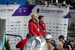 HILBERATH Jonny (Co Bundestrainer Dressur GER), THEODORESCU Monica (Bundestrainer GER)<br /> Göteborg - Gothenburg Horse Show 2019 <br /> FEI Dressage World Cup™ Final I<br /> Int. dressage competition - Grand Prix de Dressage<br /> Longines FEI Jumping World Cup™ Final and FEI Dressage World Cup™ Final<br /> 05. April 2019<br /> © www.sportfotos-lafrentz.de/Stefan Lafrentz