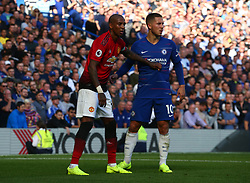 October 20, 2018 - London, England, United Kingdom - London, England - October 20: 2018.L-R Manchester United's Ashley Young and Chelsea's Eden Hazard.during Premiership League between Chelsea and Manchester United at Stamford Bridge stadium , London, England on 20 Oct 2018. (Credit Image: © Action Foto Sport/NurPhoto via ZUMA Press)
