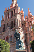 Statue of Fray Juan de San Miguel in front of the Parroquia de San Miguel Arcangel church in San Miguel de Allende, Mexico.