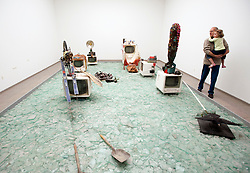 Art installation by Wolf Vostell called Elektronischer Happening Raum at Hamburger Bahnhof Museum of Contemporary Art in Berlin Germany