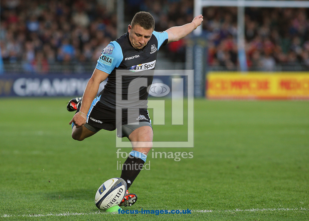 Duncan Weir of Glasgow Warriors prepares to kick a conversion during the European Rugby Champions Cup match at Scotstoun Stadium, Glasgow<br /> Picture by Ian Buchan/Focus Images Ltd +44 7895 982640<br /> 18/10/2014