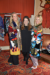 Left to right, CAROLINA BONFIGLIO, MARY KATRANZOU and MARIYA DYKALO at a lunch hosted by Mary Katranzou to celebrate her LFW AW 2016 collection at Mark's Club, London on 23rd February 2016.