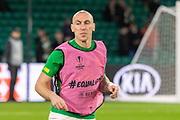 Celtic Captain Scott Brown (C) (#8) prepares to face tonight's opponents ahead of the Europa League match between Celtic and Rennes at Celtic Park, Glasgow, Scotland on 28 November 2019.