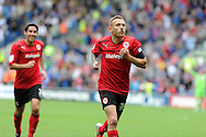 Cardiff city's Craig Bellamy (r) celebrates after he scores the opening goal. NPower championship, Cardiff city v Leeds United at the Cardiff city stadium in Cardiff, South Wales on Sat 15th Sept 2012.   pic by  Andrew Orchard, Andrew Orchard sports photography,