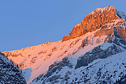 Peak of the Canadian Rocky Mountains at sunrise, Banff National Park, Alberta, Canada