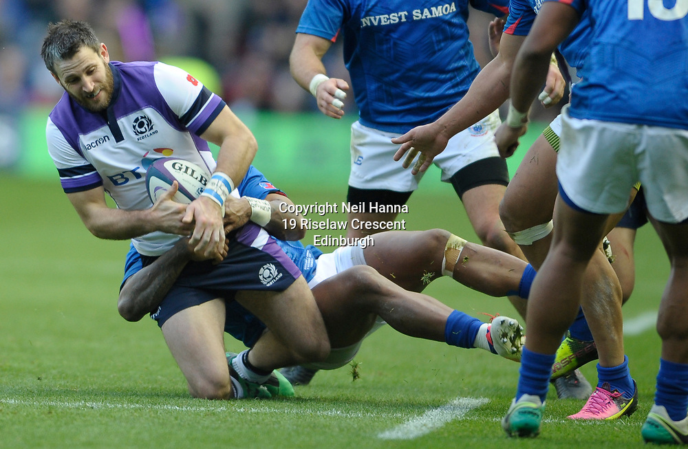 No Sales, Syndication or Archive <br /> Scotland V Samoa<br /> Saturday 11 November 2017<br /> BT Murrayfield <br /> <br /> Reynold Lee-Lo of Samoa and Tommy Seymour of Scotland<br /> <br /> <br />  Neil Hanna Photography<br /> www.neilhannaphotography.co.uk<br /> 07702 246823