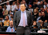 Nov. 14, 2012; Phoenix, AZ, USA; Chicago Bulls head coach Tom Thibodeau reacts on the sidelines during the game against the Phoenix Suns at the US Airways Center. The Bulls defeated the Suns 112-106 in overtime. Mandatory Credit: Jennifer Stewart-USA TODAY Sports.