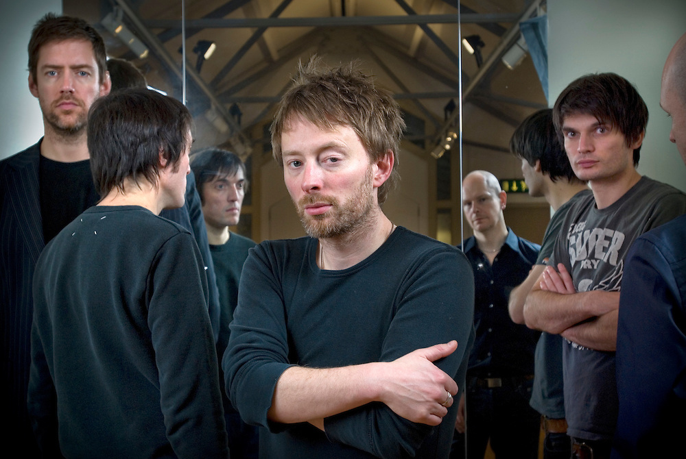 Oxford based band Radiohead, photographed in the attic of the Oxford Playhouse theatre. From left to right: Colin Greenwood,  Ed O'Brian, Thom Yorke, Jonny Greenwood and Phil Selway.