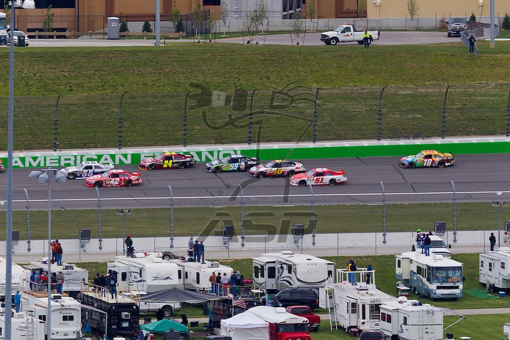 KANSAS CITY, KS - APR 22, 2012:  The NASCAR Sprint Cup teams take to the track for the STP 400 at the Kansas Speedway in Kansas City, KS.