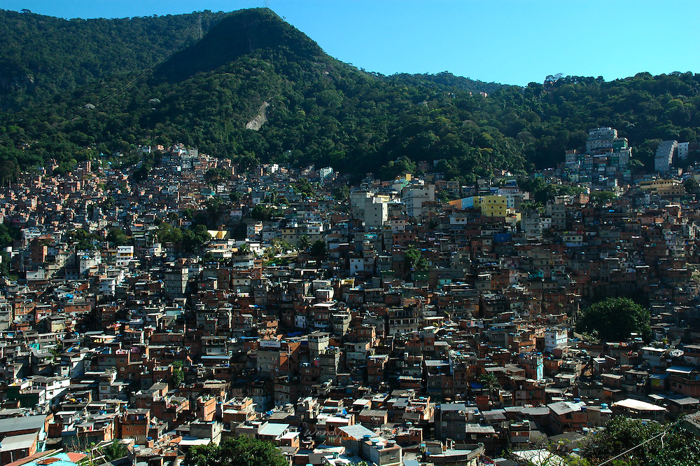 A partial view of the Rocinha favela.  The biggest slum in Brazil, built on a steep hillside overlooking the city, just one kilometre from the beach. Rio de Janeiro, Brazil, 2008