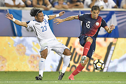 July 7, 2017 - Harrison, New Jersey, U.S - Costa Rica defender CHRISTIAN GAMBOA (16) takes the ball away from Honduras defender CARLOS SANCHEZ (23) during CONCACAF Gold Cup 2017 action at Red Bull Arena in Harrison New Jersey Costa Rica defeats Honduras 1 to 0. (Credit Image: © Brooks Von Arx via ZUMA Wire)