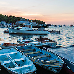 Skiffs at dawn in Tenants Harbor, Maine.