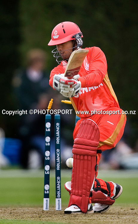 Usman Limbada is bowled off the bowling of New Zealand's Douglas Bracewell. New Zealand v Canada, U19 Cricket World Cup group stage match, Lincoln #3, Saturday 16 January 2010. Photo : Joseph Johnson/PHOTOSPORT