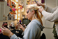 UK. London. We Will Rock You, the Musical by Queen and Ben Elton, being performed in London's Dominion Theatre..Photo shows Jenna Lee James who plays Scaramouche in her dressing room and on stage..Photo©Steve Forrest/Workers' Photos