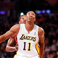 03 November 2013: Los Angeles Lakers shooting guard Wesley Johnson (11) vies for the rebound with Los Angeles Lakers shooting guard Jodie Meeks (20) during the Los Angeles Lakers 105-103 victory over the Atlanta Hawks at the Staples Center, Los Angeles, California, USA.