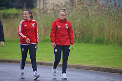 CARDIFF, WALES - Friday, August 19, 2016: Wales' Natasha Harding and Rachel Rowe during a pre-match walk at the Vale Resort ahead of the international friendly match against Republic of Ireland. (Pic by Laura Malkin/Propaganda)