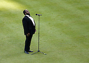 "ATLANTA, GA - OCTOBER 2:  Tenor Timothy Miller sings ""God Bless America"" during the game between the Detroit Tigers and the Atlanta Braves at Turner Field on Sunday, October 2, 2016 in Atlanta, Georgia. (Photo by Mike Zarrilli/MLB Photos via Getty Images) *** Local Caption ***"