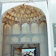 25 November 1976<br /> Kabul. Detail honeycomb decoration on interior of dome over door. top of door.