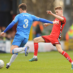 TELFORD COPYRIGHT MIKE SHERIDAN 16/2/2019 - Henry Cowans of AFC Telford closes down Scott Duxbury of Stockport during the Vanarama Conference North fixture between Stockport County and AFC Telford United at Edgeley Park